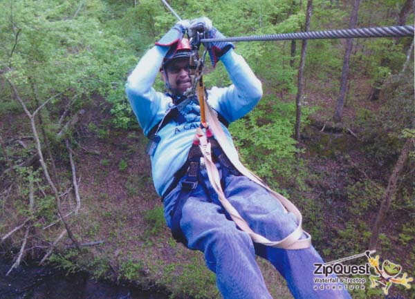 a Picture of Dave zip lining at ZipQuest, Fayetteville, NC